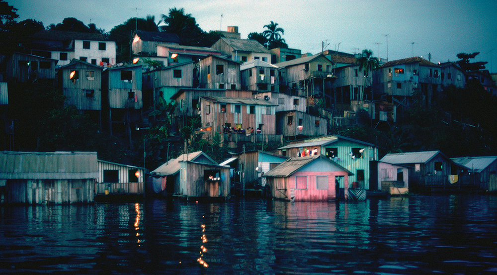 Waterfront houses on Rio Negro, Manaus, Amazonas, Brazil.