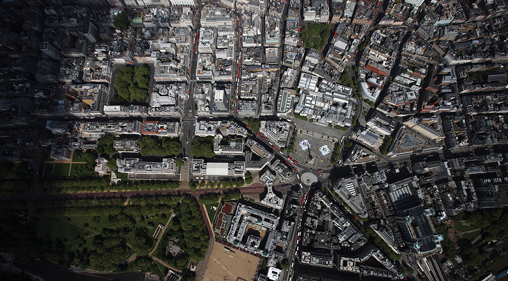 Aerial view of Trafalgar Square, London. Image shot 2009. Exact date unknown.