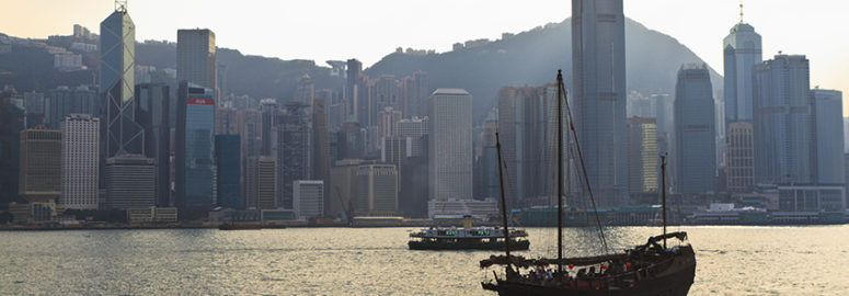 Boat on harbour in Hong Kong