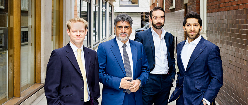 QuoinStone's Tim Struth, investor James Caan, QuinStone's Steve Howling and Spire Ventures' Faisal Butt