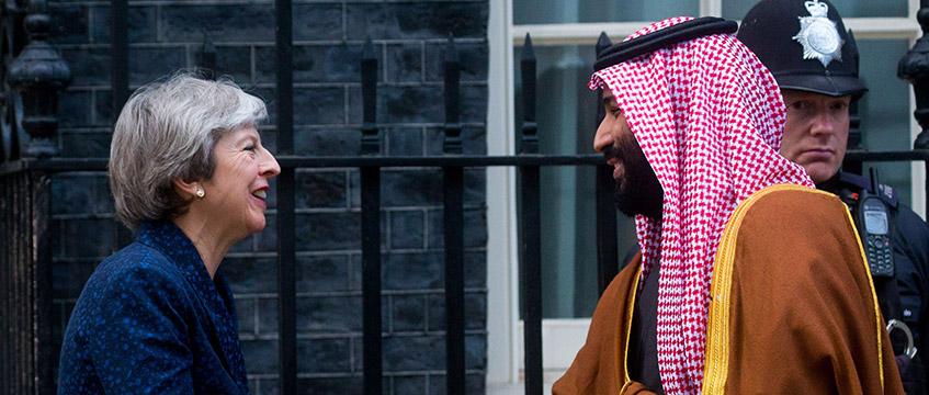 Theresa May with Sadui crown prince Mohammad bin Salman