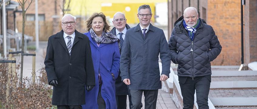 L-R: David Dodds, West Lothian Council; Fiona Hyslop MSP; John Hamilton, Winchburgh Developments Limited; Derek Mackay, Cabinet Secretary; Sir Tom Hunter, West Coast Capital