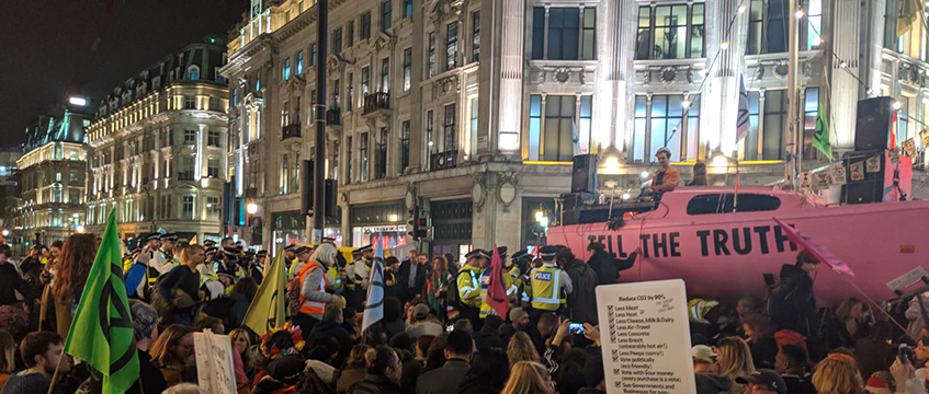 Extinction Rebellion protest at Oxford Circus. Picture: Extinction Rebellion/Twitter