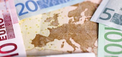 Europe map and money