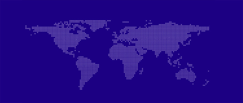 Stylized purple map of the world.