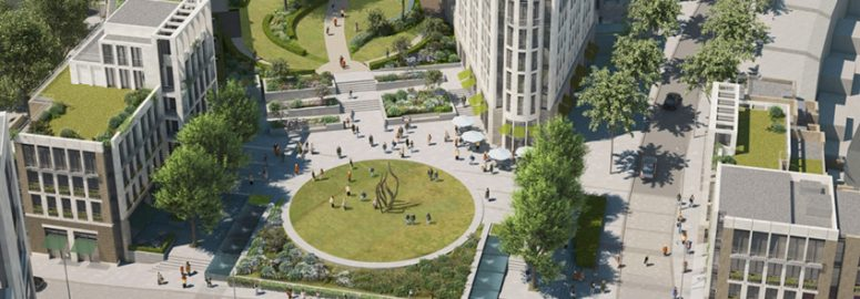 Aerial view of public square in CapCo's Earl Court plans