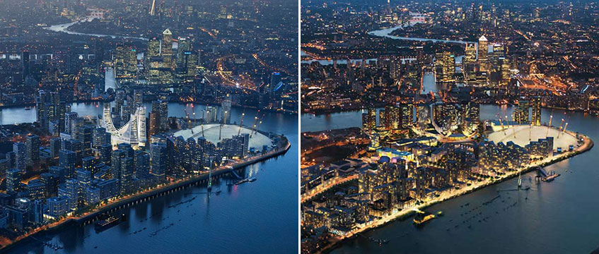 Greenwich Peninsula masterplan before and after