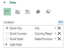 Figure 4. 3DMap will detect that the worksheet contains geographic data.