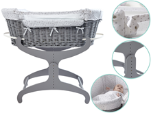 Shop Moses baskets & cribs that come complete with sheets, blankets & stands for a complete 1st bed.