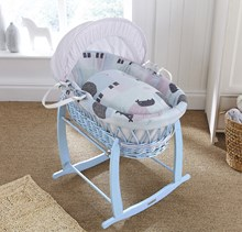 Shop the new & exclusive blue wicker Moses baskets!