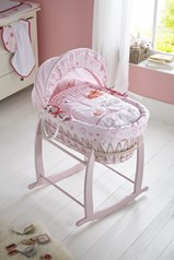 Shop new and exclusive pink wicker Moses baskets, perfect for a baby girl!