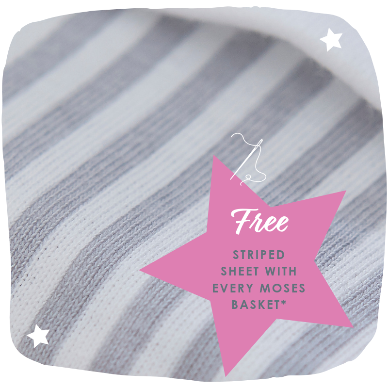 Stars & Stripes Free Sheet with Moses Basket