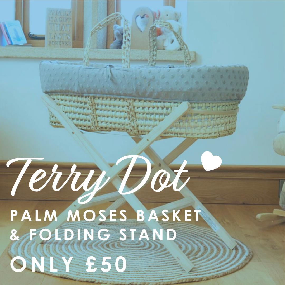 Shop Terry Dot Palm Moses Basket & Stand