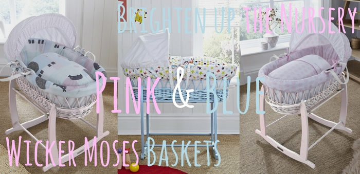 Introducing Blue and Pink Wicker Moses Baskets