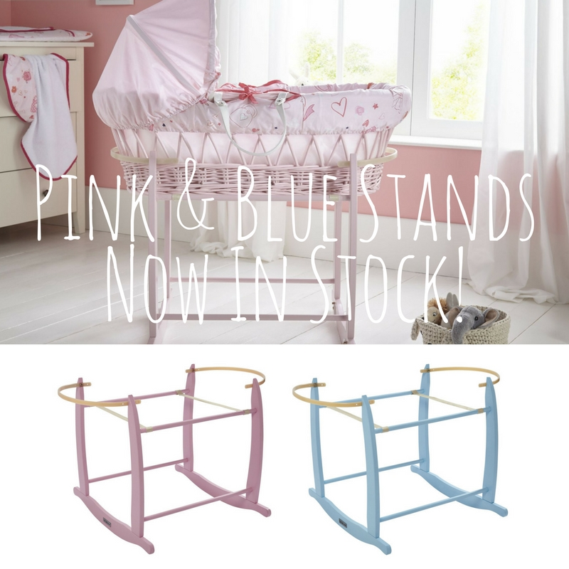 Blue and Pink Deluxe Rocking Moses Basket Stands