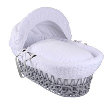 Marshmallow Grey Wicker Moses Basket