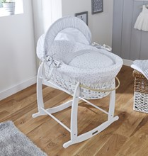 Stars & Stripes White Wicker Moses Basket