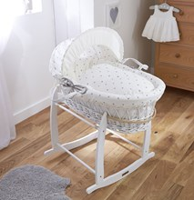 Lullaby Hearts White Wicker Moses Basket