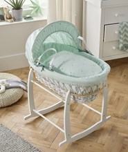 Lullaby Stars White Wicker Moses Basket