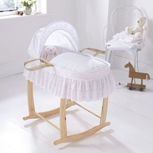 Broderie Anglaise Moses Basket Dressings Bedding Set
