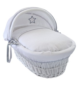 Silver Lining White Wicker Moses Basket