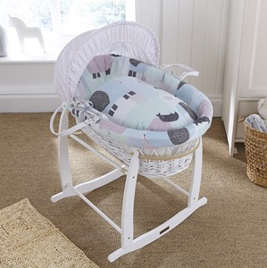Stanley & Pip White Wicker Moses Basket