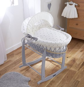 Lullaby Hearts Grey Wicker Moses Basket