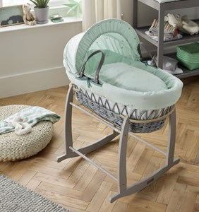 Lullaby Stars Grey Wicker Moses Basket