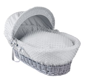 Dimple Grey Wicker Moses Basket