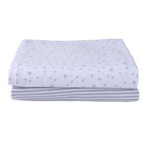 2 Pack Universal Bedside Crib Grey Stars & Stripes Fitted Sheets