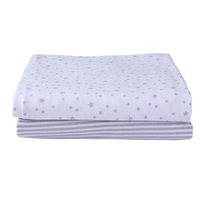 Stars & Stripes 2 Pack Fitted Cot Bed Sheets in Grey