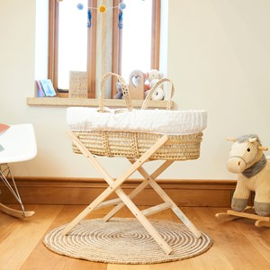 Terry Dot Palm Moses Basket & Folding Stand