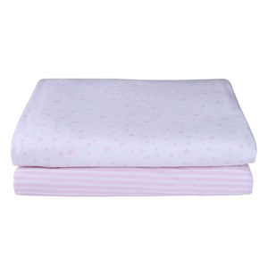 Stars & Stripes 2 Pack Fitted Moses Sheets in Pink