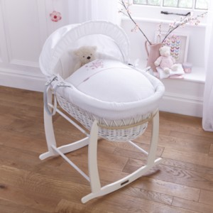 Stardust White Wicker Moses Basket