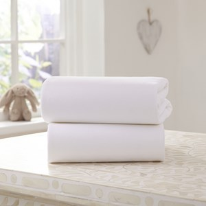 2 Pack White Universal Bedside Crib Fitted Sheets