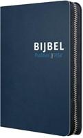 Bijbel (HSV) met Psalmen- blauw leer met zilversnee, rits en duim (Hardcover)