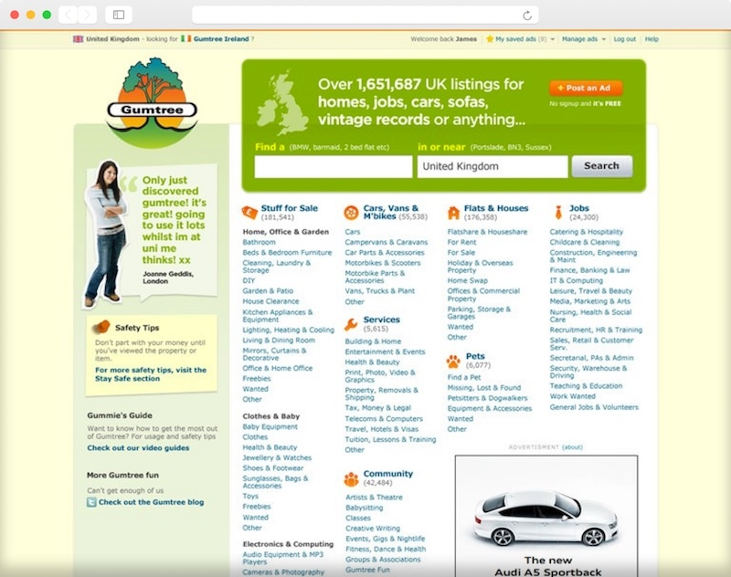 A screenshot of the busy Gumtree homepage.