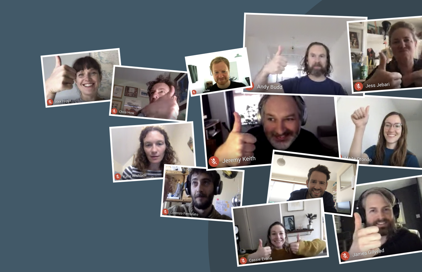 A montage of some of the Clearleft team from a Zoom call
