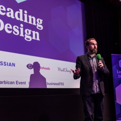 Andy Budd talking at Leading Design conference at the Barbican, London