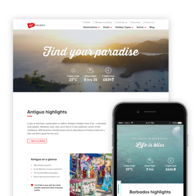 UI and content design on a desktop and mobile for Antigua