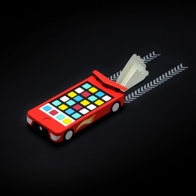 An illustration of a fast car turning into a mobile phone.