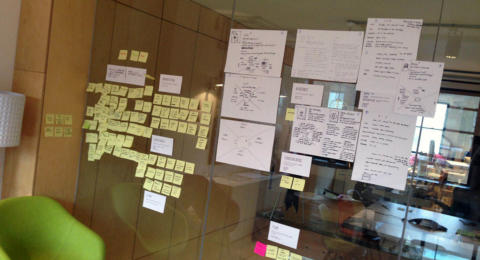A wall covered in sketches and post-it notes.