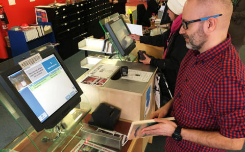 A man testing new software at Suffolk libraries
