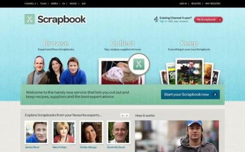 A screenshot of the Scrapbook homepage.