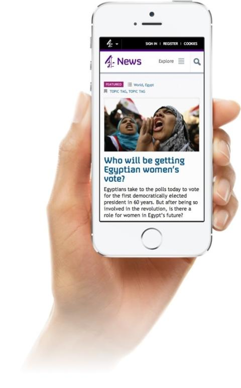 A mobile mock up of the channel 4 website