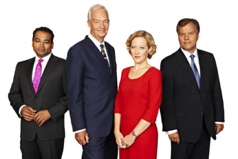 A close up of the channel 4 news team