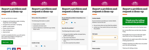 A redesign street report form used to capture information from citizens
