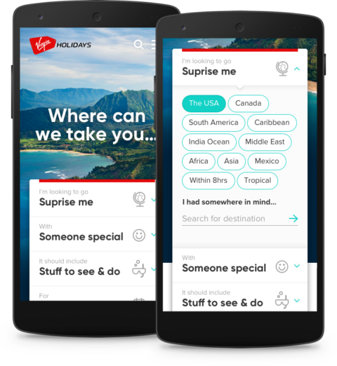 A concept for a Virgin Holidays app that helps the user choose a surprise holiday