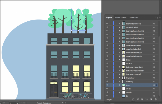 A picture of the illustration being put together in adobe Illustrator