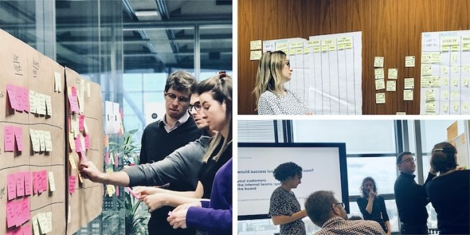 Three photos of people collaborating with sticky notes in a workshop
